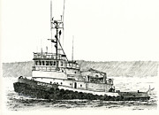 Northwest Drawings Prints - Tugboat DREW FOSS Print by James Williamson