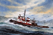 Greeting Cards Art - Tugboat EARNEST by James Williamson
