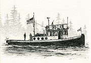 Pacific Northwest Drawings Posters - Tugboat HENRIETTA FOSS Poster by James Williamson
