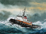 Tugs Posters - Tugboat HUNTER CROWLEY Poster by James Williamson