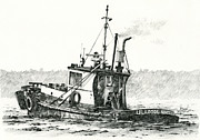 Nautical Print Drawings - Tugboat LELA FOSS by James Williamson