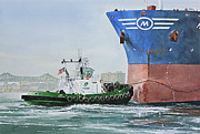 Maritime Greeting Card Painting Originals - Tugboat LEO FOSS by James Williamson