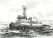 Canvas Drawings - Tugboat SANDRA FOSS by James Williamson