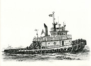 Northwest Drawings Prints - Tugboat SHELLEY FOSS Print by James Williamson