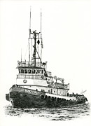 Pacific Northwest Drawings Posters - Tugboat SIDNEY FOSS Poster by James Williamson