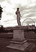 Wheel Framed Prints Posters - Tuileries Statue and Ferris Wheel Poster by Kathy Yates