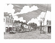 Southern Drawings Prints - Tularosa NM Main Street Print by Jack Pumphrey