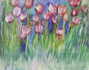 Pein Air Painting Prints - Tulip Bed Print by Don  Wright