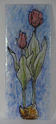 Tulips Glass Art Originals - Tulip Blush by Michelle Rial