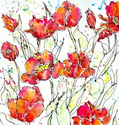Tulips Drawings - Tulip Dance by Jennifer Edwards