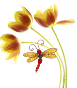 Yellow Flowers Posters - Tulip Dragonfly Poster by Rebecca Cozart
