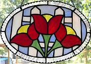 Panel Glass Art - Tulip Fence by Liz Shepard
