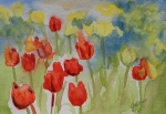 Field Of Flowers Paintings - Tulip Field by Gretchen Bjornson