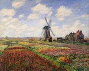 Netherlands Posters - Tulip Fields with the Rijnsburg Windmill Poster by Claude Monet