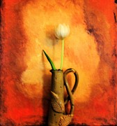 Handmade Art - Tulip in Hand Made Vase ll by Marsha Heiken