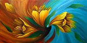 Summer Framed Prints Paintings - Tulip in Motion by Uma Devi