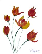 Rose Drawings Prints - Tulip One Print by Jalal Gilani