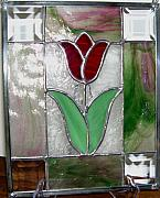 Tulips Glass Art Originals - Tulip Patch by Liz Shepard