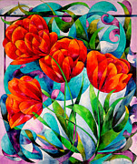 Turquoise Stained Glass Painting Prints - Tulip Quartet Print by Sherry Shipley