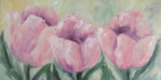 Pink Floral Painting Posters - Tulip Row Poster by Torrie Smiley