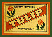 Accessories Posters - Tulip Safety Matches Matchbox Label Poster by Carol Leigh