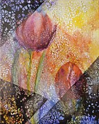 Ceramic Glazes Framed Prints - Tulip Secrets Framed Print by Kathleen Pio