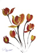 Tulip Drawings Prints - Tulip Three Print by Jalal Gilani