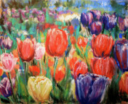 Botanical Pastels Originals - Tulip Time by Cathy Weaver
