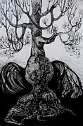 Tulip Drawings Prints - Tulip Tree Print by Anna  Duyunova