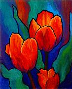 Floral Paintings - Tulip Trio by Marion Rose