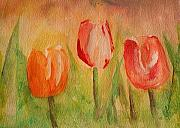 Red Photographs Painting Prints - Tulip triplets Print by Julie Lueders