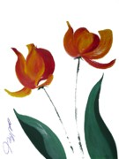 Tulip Drawings Prints - Tulip Two Print by Jalal Gilani
