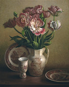 Lyndall Bass Autograph Posters - Tulips and Redware Poster by Lyndall Bass