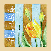 Blues Greeting Cards Posters - Tulips and Stripes Poster by Ann Troe