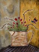 Folk  Paintings - Tulips and The Lovely Bee by Rain Ririn