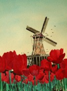 Diane Merkle Posters - Tulips and Windmill Poster by Diane Merkle