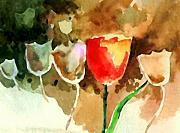 Flowers Mixed Media Originals - Tulips by Anil Nene