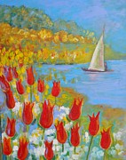 Arnold Originals - Tulips By The Lake by Arnold Grace