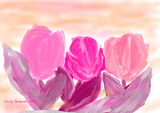 Flower Gardens Pastels Prints - Tulips Print by Carly Stroman