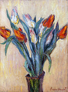 Glass Vase Framed Prints - Tulips Framed Print by Claude Monet