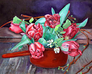 Fine Art - Still Lifes Originals - Tulips by Enzie Shahmiri