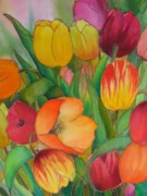 Red Flowers Tapestries - Textiles - Tulips by Evelyn Antonysen