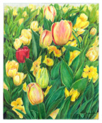 Blooming Drawings Originals - Tulips from Amsterdam by Jeanette Schumacher