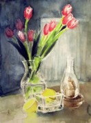 Tulip Drawings Prints - Tulips In A Grass Vase Print by Yoshiko Mishina