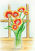 Tulips Drawings Prints - Tulips in a window Print by Tatiana Fess