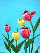 Canada Drawings - Tulips in Blue by Anastasiya Malakhova