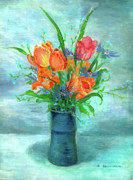 Blue Vase Painting Posters - Tulips in BlueVase Poster by Ethel Vrana