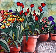 Stone Tapestries - Textiles Prints - Tulips in Clay Pots Print by Linda Marcille