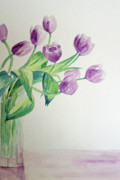 Vase Of Flowers Painting Prints - Tulips in Purple Print by Julie Lueders
