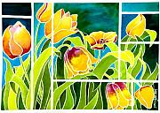 Yellow Tulips Posters - Tulips in Stained Glass Poster by Janis Grau